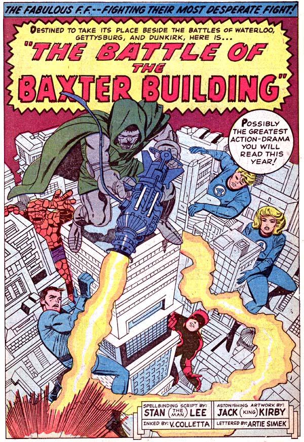 A Batalha do Edifício Baxter, abrindo a história de Fantastic Four #40 (1963), de Stan Lee e Jack Kirby