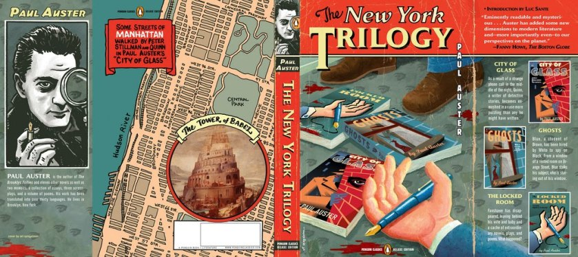 A capa de Art Spiegelman, de Maus, para a capa de A trilogia de Nova York, de Paul Auster