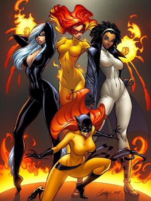 Marvel Divas. No sentido horário: Flama, Fóton, Felina e Gata Negra.