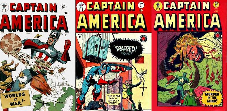 Captain America #70-72. Repare como o conteúdo das capas da HQ foi mudando.