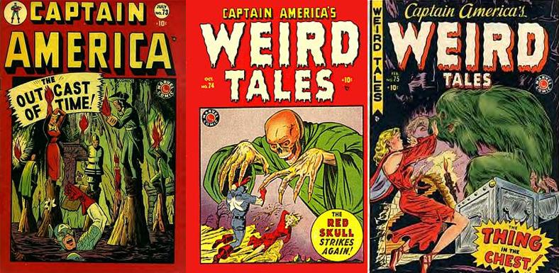 Captain America #73-75. Repare como o conteúdo da revista foi mudando ainda mais até se transformar em Captain America's Weird Tales.
