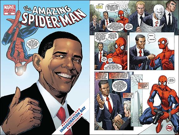 Homem-Aranha (criado em 1962) com o presidente Barack Obama (eleito em 2009).