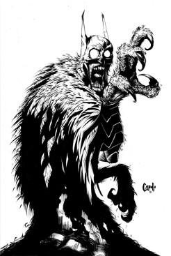 A perturbadora mescla de homem/morcego/coruja.