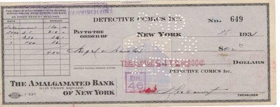 O cheque de $130 dado aos criadores do Superman, Jerry Siegel e Joe Shuster.
