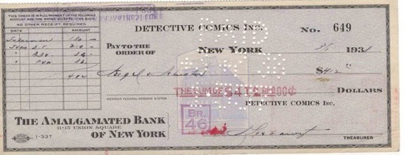 O cheque de $130 dado aos criadores do Superman, Jerry Siegel e Joe Shuster.