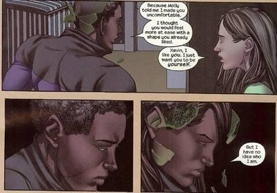 Xavin transformando-se em mulher por amor à Karolina.