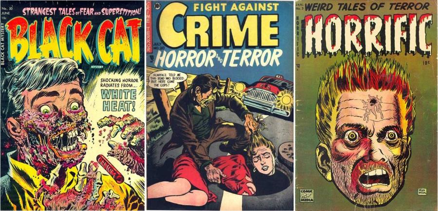 Alguns exemplos de capas de HQs de Horror e Crime dos anos 1950 nos EUA.