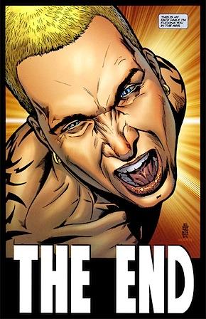 """O Final de O Procurado - Wanted: """"Essa é minha cara enquanto eu fodo a sua bunda"""" (2003-2005). Desenhos de J.G. Jones."""