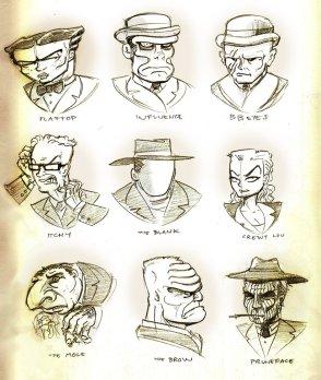 Galeria de vilões de Dick Tracy (Chester Gould, 1931).