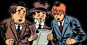 Os Três Cabeças-Ocas: Winky era o maior deles com cabelos castanhos crespos, Blinky era o ruivo com os olhos sempre escondidos por baixo da franja e Noody era o menor deles, com um grande chapéu sobre os cabelos negros.