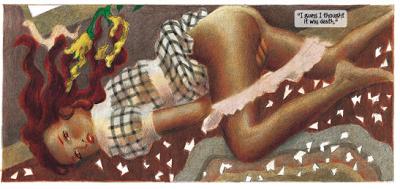 Dorothy durante o furacão. Lost Girls foi inspirado nas Tijuana Bibles, gibis artesanais xerocados que apresentavam personagens famosos ou celebridades em histórias sexuais.