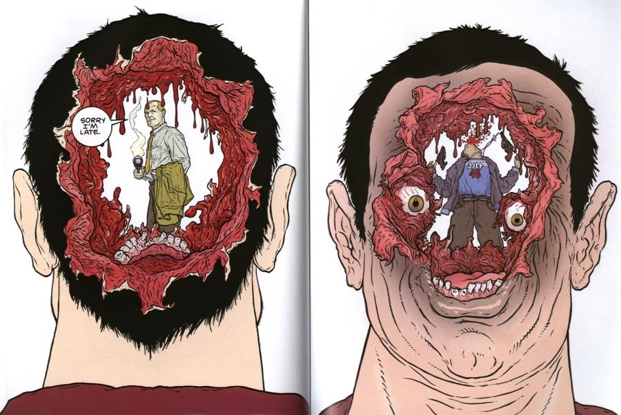 Capa e Contracapa de Hard Boiled (1990-1992), desenhada por Geoff Darrow.