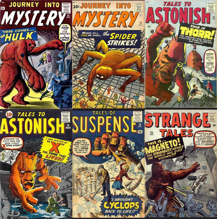 Aí estão alguns dos monstros da Atlas. Alguém reconhece os nomes dados para eles. E olha que a maioria destes super-heróis só surgiria em 1960. Tudo se transforma, já diria Lavosier.