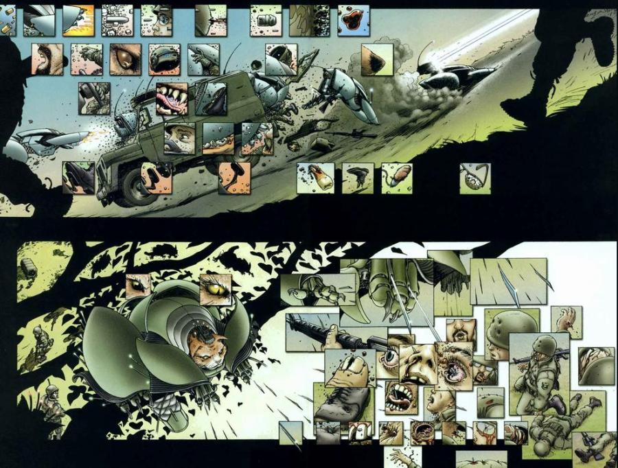Um massacre nos mais variados detalhes, em We3 (2004), desenhos por Frank Quitely.