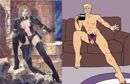 A lânguida Emma Frost de Milo Manara e o Gavião Arqueiro da Hawkeye Initiative: mundo maniqueísta dos super-heróis.