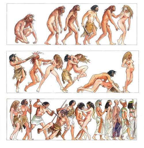 Páginas de Evolução, de Milo Manara, outro explo de como