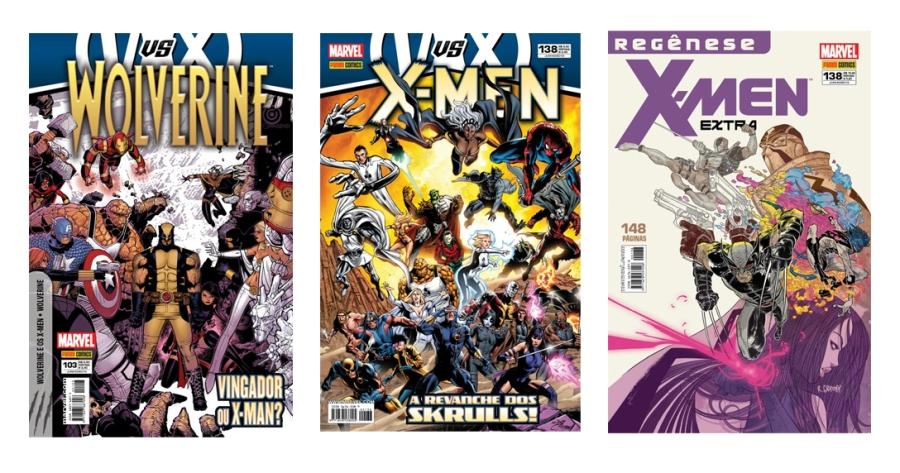 Wolverine #103, X-Men #138 e X-Men Extra #138, os títulos atuais dos mutantes sendo publicados pela Panini Comics (afora a linha Ultimate Marvel, que não pertence ao universo regular).