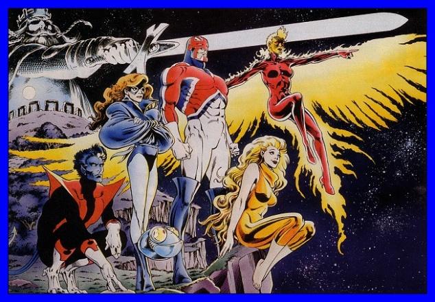 O Excalibur: Noturno, Lince Negra, Capitão bretanha, Meggan e Fênix.