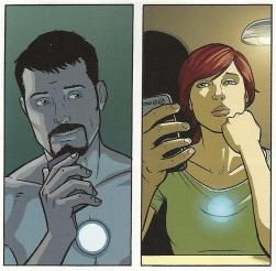 """Detalhe da história """"muda"""" de Matt Fraction e Jamie McKelvie para o Invencível Homem de Ferro."""
