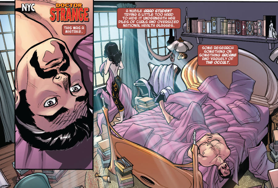 """Detalhe de Os Defensores, uma história do Doutor Estranho disfarçada de revista de grupo. """"As coisas foram sensacionais até deixarem de ser e ficar claro que até mesmo adultos podem sofrer. O fato de sermos adultos não nos protege da dor, apenas nos apresenta novas maneiras de infligi-las"""" – Stephen Strange, o Doutor Estranho, em Os Defensores #01, nos EUA, Defenders #04."""
