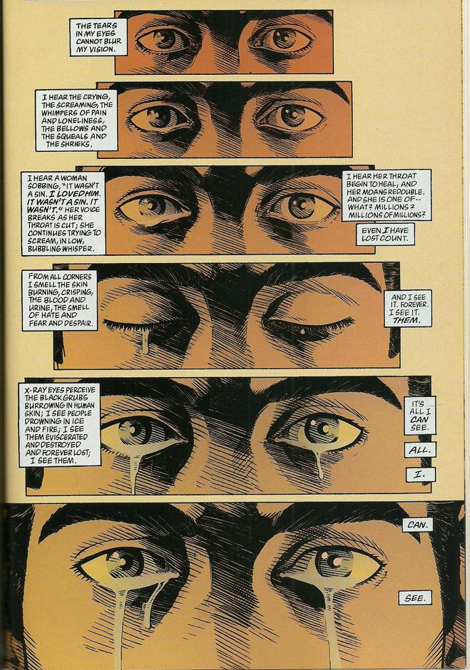 A Onisciência do Superman, por Neil Gaiman. Ele guarda o Espírito da Homanidade. Ele é o Cordeiro de Deus.