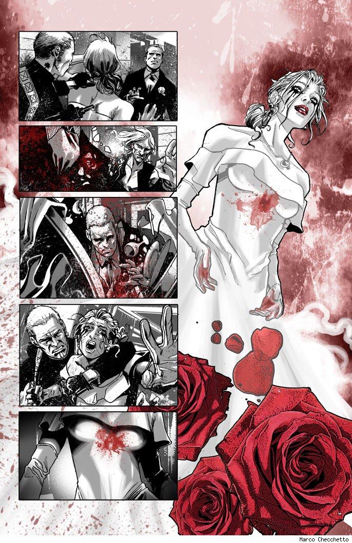 Uma das primeiras páginas de Punisher #1, de Greg Rucka e Marco Checheto: Silêncio.