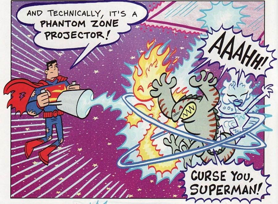 """E, tecnicamente, isto é um projetor da zona fantasma!"" - ""Aaaaaa!"" - ""Amaldiçoado seja, Superman!"""