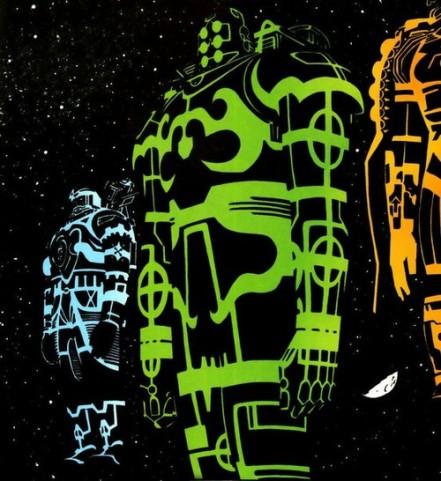 Os Celestiais em visual a la Tron, em Terra X.