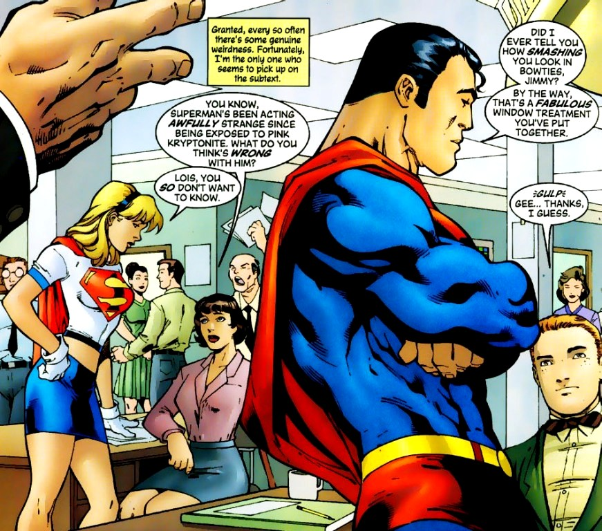 A kryptonita rosa (!) faz o Superman elogiar e flertar com Jimmy Olsen.