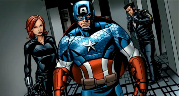 Viúva Negra, Capitão América e Wolverine.