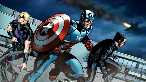 Gavião Arqueiro, Capitão América e Wolverine.