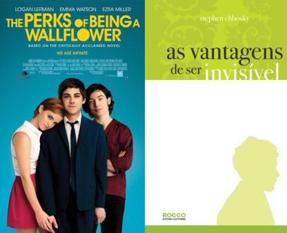 As capas do filme e do livro As Vantagens de Ser Invisível