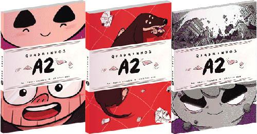 Os três álbuns do Quadrinhos A2 lançados até agora.
