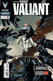 Capa da revista Universo Valiant, com a heroína Zephyr na capa. A segunda publicação da Valiant no Brasil.