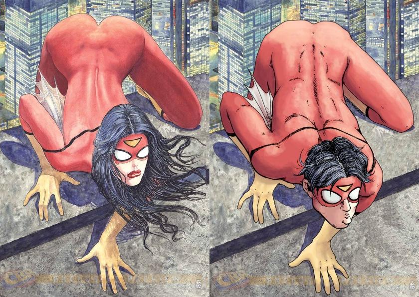 """A Mulher-Aranha, do artista erótico italiano Milo Manara, na capa de sua revista para a Marvel Comics e a comparação com um """"Homem-Aranha' na mesma posição."""