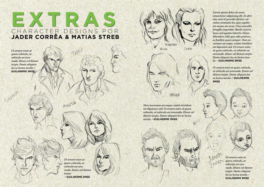Character Designs de Jader Corrê a e Matias Streb para o Fratura Exposta. Os textos, é claro, são só marcação!