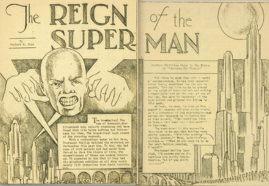 O primeiro fanzine de Jerry Siegel e Joe Shuster apresentava um Superman fascista