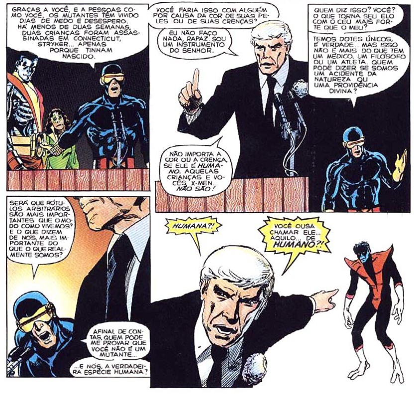 O apresentador de TV EVANGÉLICO pregando contra os mutantes. Essa é uma história de 1988, mas troca mutantes por gays e fica bem atual, né?