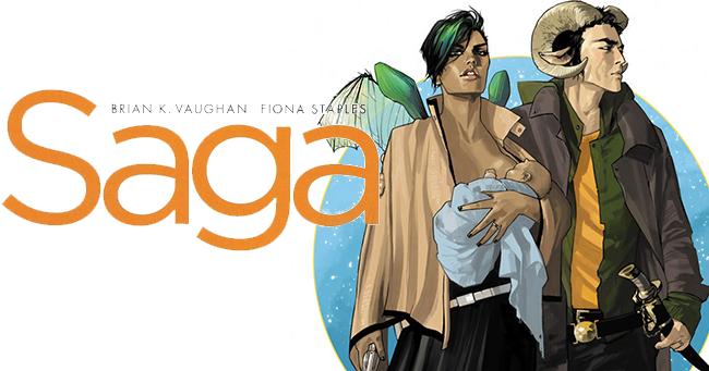 SAGA, Volume Um, de Brian K. Vaughan e Fiona Staples (Devir, R$ 56, Tradução: Marquito Maia)