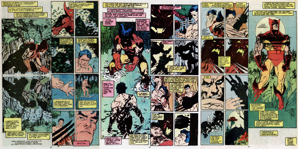 As páginas de Wolverine, escrita por harlan Ellison, desenhadas por Miller e finalizadas por Sienkiewicz