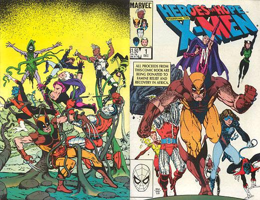 Contracapa e capa de Heroes for Hope Starring The X-Men