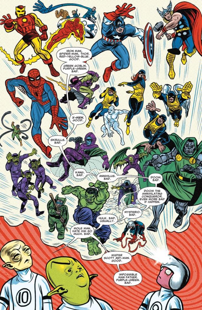 As regras das cores de super-heróis explicadas pelo Topeiróide e Artie ao Homem Impossível Junior  na revista da Fundação Futuro. Escrita por Lee Allred e Matt Fraction e desenhada por Mike Allred. Cores, claro, por Laura Allred.