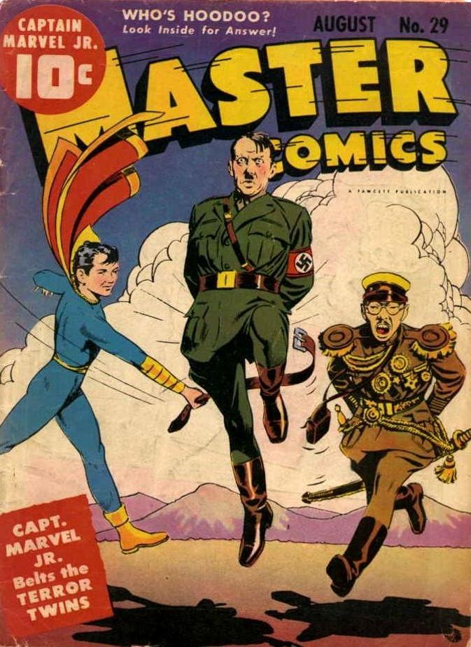 E o cinto da Capitão Marvel Jr. vai cantar! Hitler e Hiruito vão bailar!