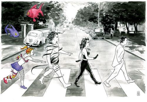 Sandman + Beatles, by Mike Allred