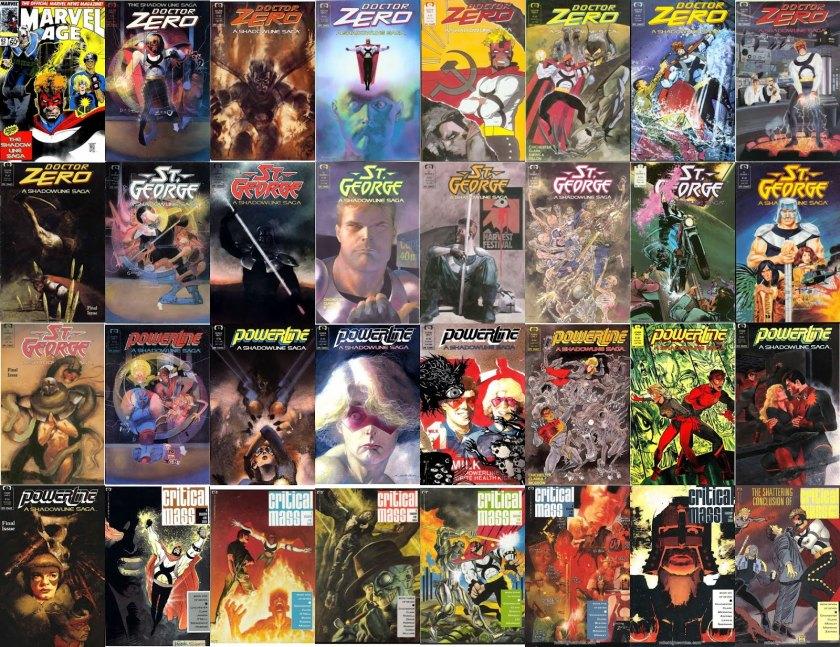 Todas as capas da ShadowLine publicadas nos Estados Unidos.