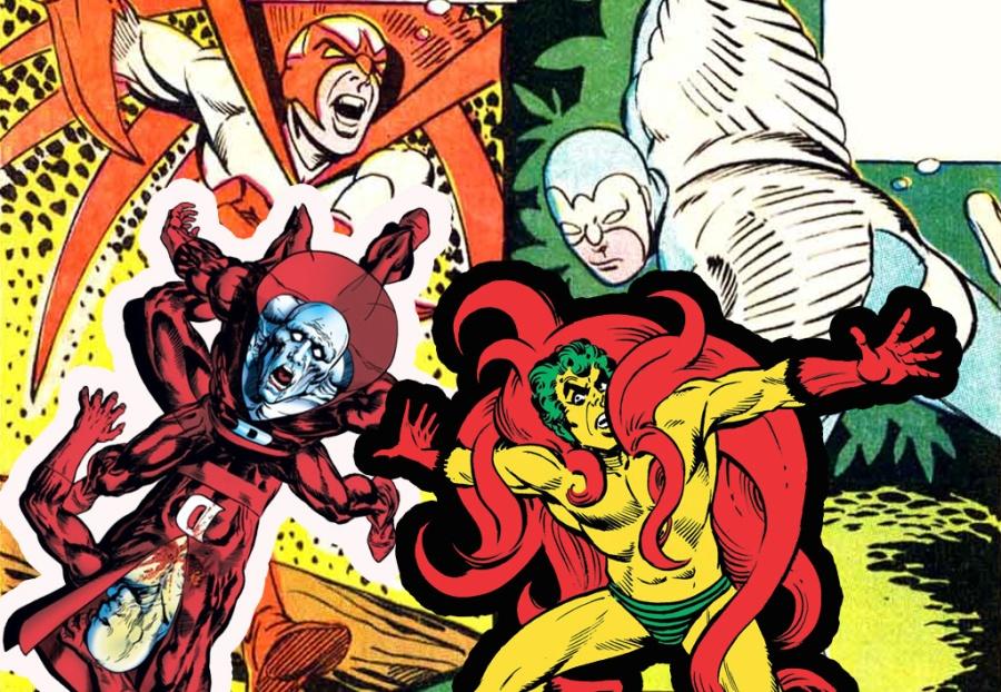 """Rapina & Columba (ao fundo), Desafiador e Rastejante, a resposta da DC ao """"estilo Marvel""""."""
