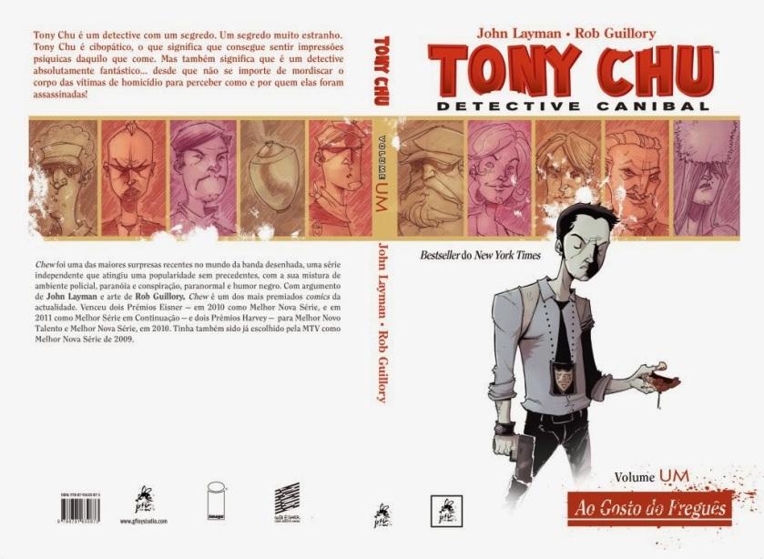 Capa aberta de Tony Chu: Detective Canibal, da GFloy Studios, de Portugal.