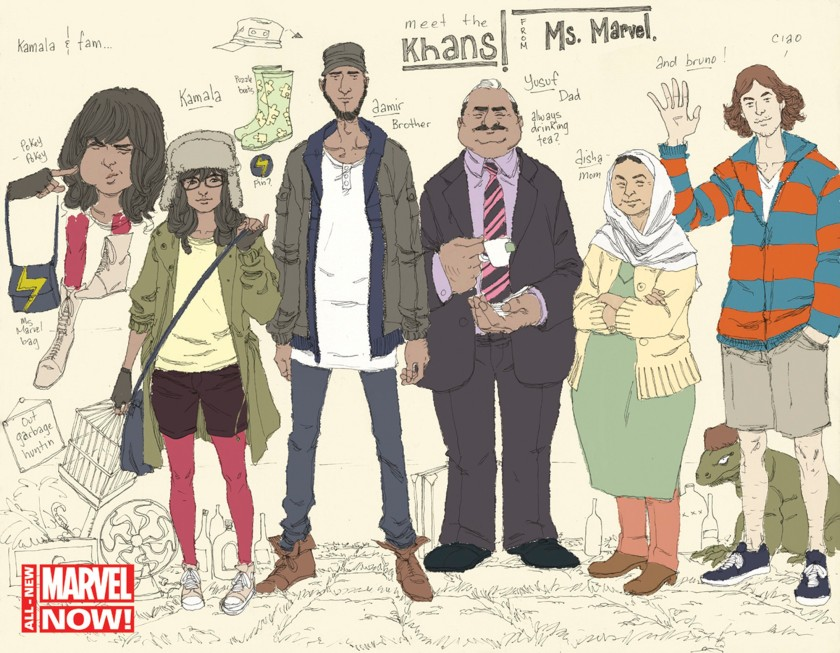 A new Marvel Comics cover shows Ms Marvel as Kamala Khan (2nd L), the 16-year-old daughter of Pakistani immigrants, in this undated handout provided by Marvel Comics. The rest of the family next to Kamala (3rd L to R) is brother Aamir, father Yusuf, mother Disha, and friend Bruno (waving).  Move over Black Widow and step aside She-Hulk: Marvel Comics is introducing a new superhero - a 16-year-old Muslim-American girl named Kamala Khan, to reflect the growing diversity of its readers.  REUTERS/Adrian Alphona/Marvel Comics/Handout via Reuters  (UNITED STATES - Tags: ENTERTAINMENT MEDIA SOCIETY) NO SALES. NO ARCHIVES. FOR EDITORIAL USE ONLY. NOT FOR SALE FOR MARKETING OR ADVERTISING CAMPAIGNS. THIS IMAGE HAS BEEN SUPPLIED BY A THIRD PARTY. IT IS DISTRIBUTED, EXACTLY AS RECEIVED BY REUTERS, AS A SERVICE TO CLIENTS