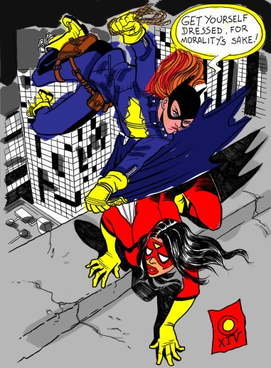 batgirl_spiderwoman_by_caiooliveira-d7x56w5